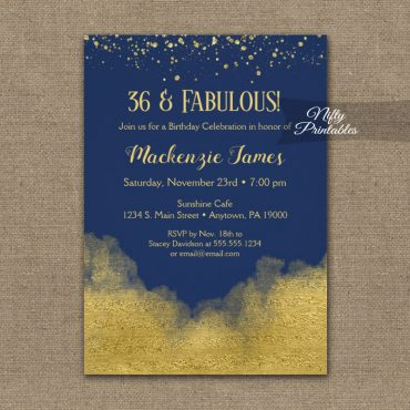 Birthday Invitation Gold Confetti Glam Navy Blue PRINTED