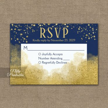 Gold Confetti Glam Navy Blue RSVP Card Wedding Response PRINTED