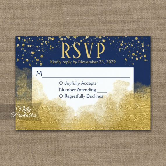 Gold Confetti Glam Navy Blue RSVP Card Wedding Response PRINTED