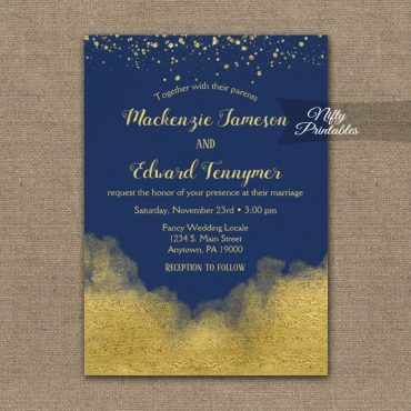 Wedding Invitation Gold Confetti Glam Navy Blue PRINTED