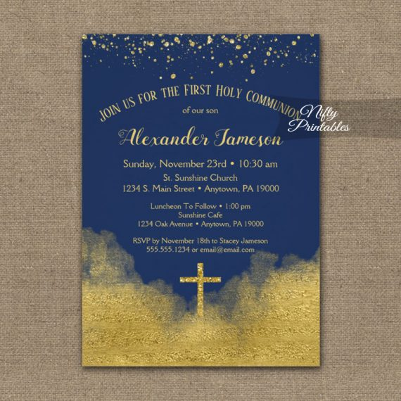 First Holy Communion Invitation Gold Confetti Glam Navy Blue PRINTED