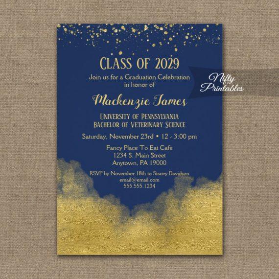 Graduation Party Invitation Gold Confetti Glam Navy Blue PRINTED
