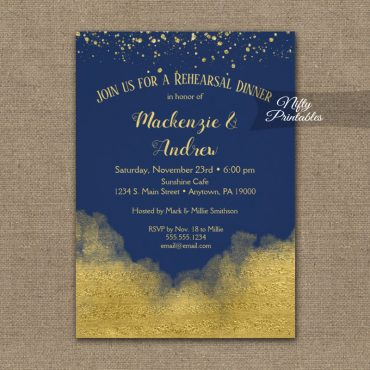 Rehearsal Dinner Invitation Gold Confetti Glam Navy Blue PRINTED