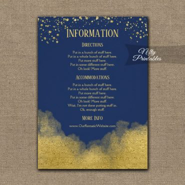 Gold Confetti Glam Navy Blue Wedding Details Info Card PRINTED