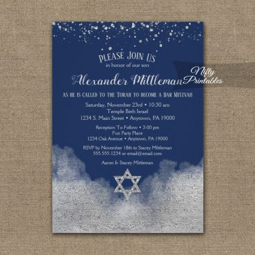 Bar Mitzvah Invitations Silver Confetti Glam Navy Blue PRINTED