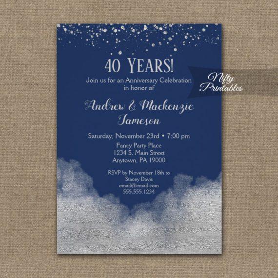 Anniversary Invitation Silver Confetti Glam Navy Blue PRINTED