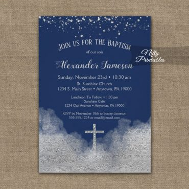 Baptism Invitations Silver Confetti Glam Navy Blue PRINTED