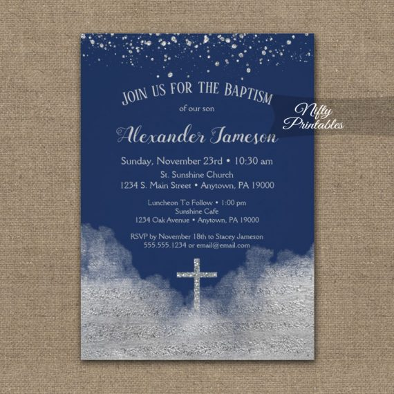 Baptism Invitation Silver Confetti Glam Navy Blue PRINTED