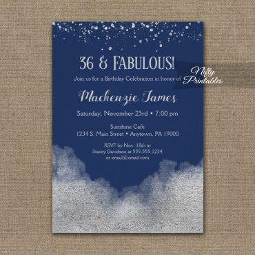Birthday Invitation Silver Confetti Glam Navy Blue PRINTED