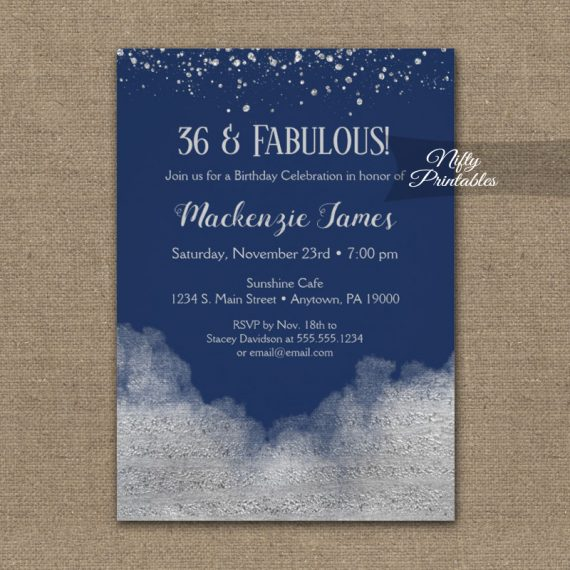 Birthday Invitation Silver Confetti Glam Navy Blue PRINTED
