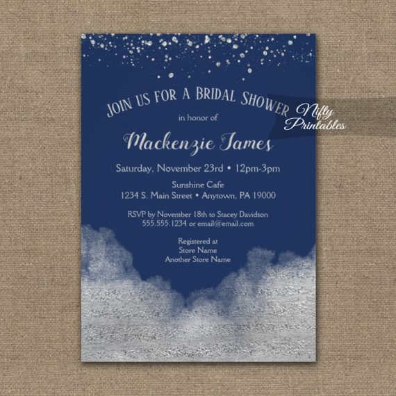 Bridal Shower Invitation Silver Confetti Glam Navy Blue PRINTED