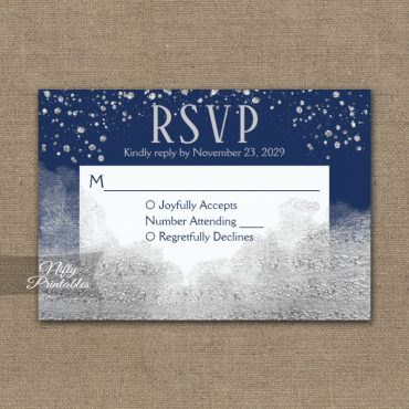 Silver Confetti Glam Navy Blue RSVP Card Wedding Response PRINTED