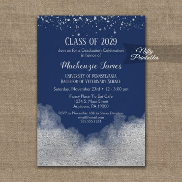 Graduation Party Invitation Silver Confetti Glam Navy Blue PRINTED