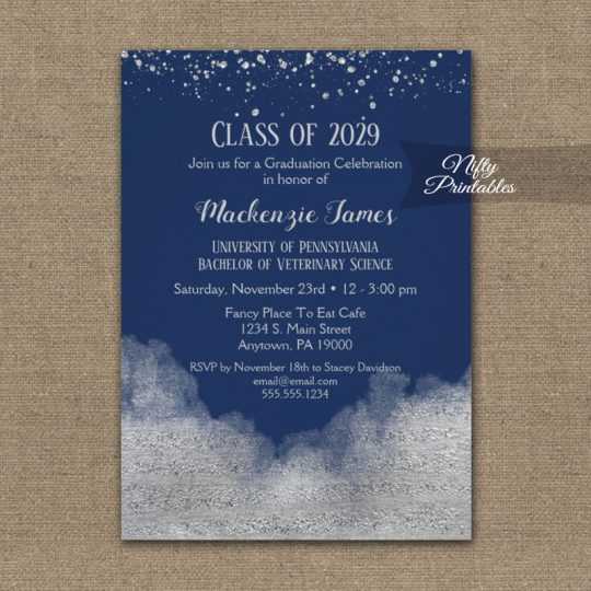 Graduation Party Invitations Silver Confetti Glam Navy Blue PRINTED