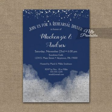 Rehearsal Dinner Invitation Silver Confetti Glam Navy Blue PRINTED