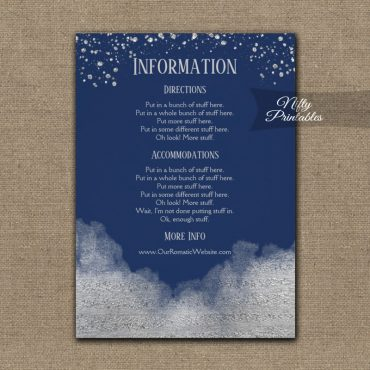 Silver Confetti Glam Navy Blue Wedding Details Info Card PRINTED