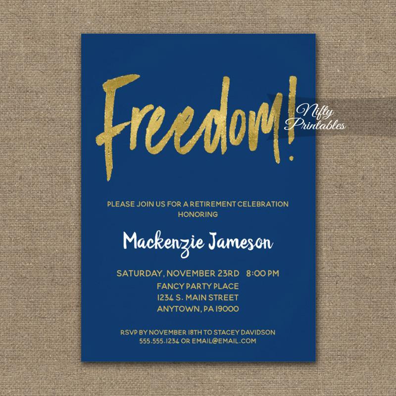 Freedom Retirement Invitations Navy Blue Gold Script PRINTED
