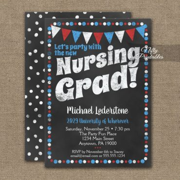 Nursing Graduation Party Invitations Red Blue Chalkboard PRINTED