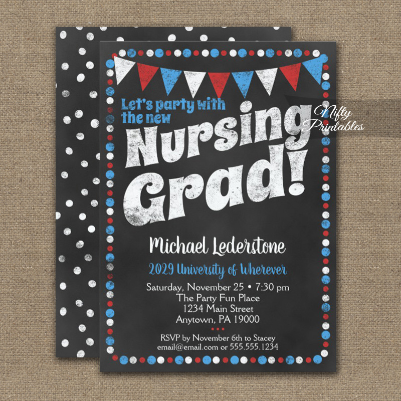 nursing graduation party invitation red blue chalkboard printed