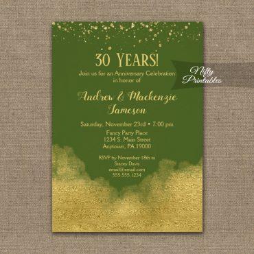 Anniversary Invitations Gold Confetti Glam Olive Green PRINTED