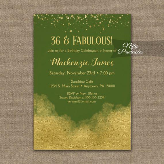 Birthday Invitation Gold Confetti Glam Olive Green PRINTED