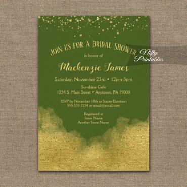 Bridal Shower Invitations Gold Confetti Glam Olive Green PRINTED
