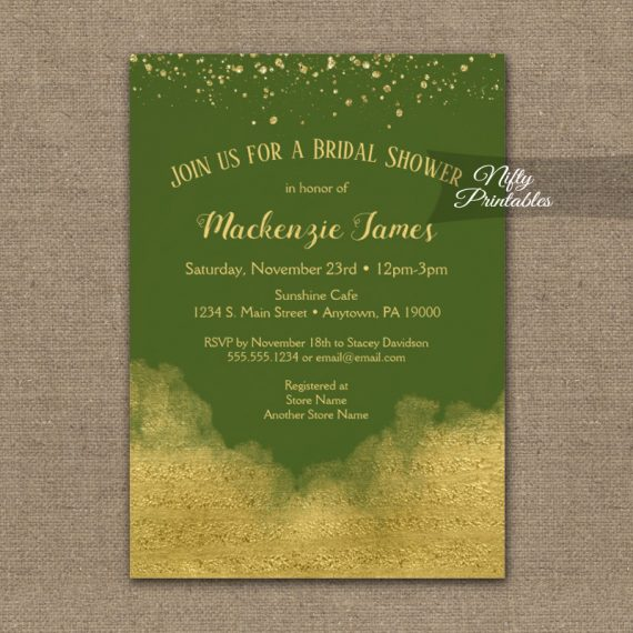 Bridal Shower Invitation Gold Confetti Glam Olive Green PRINTED