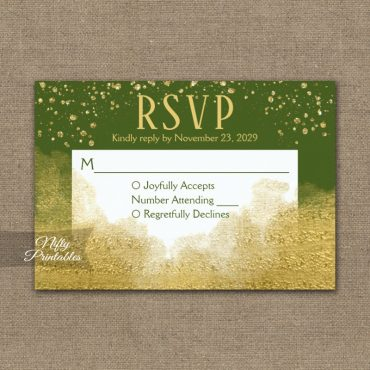 Gold Confetti Glam Olive Green RSVP Card Wedding Response PRINTED