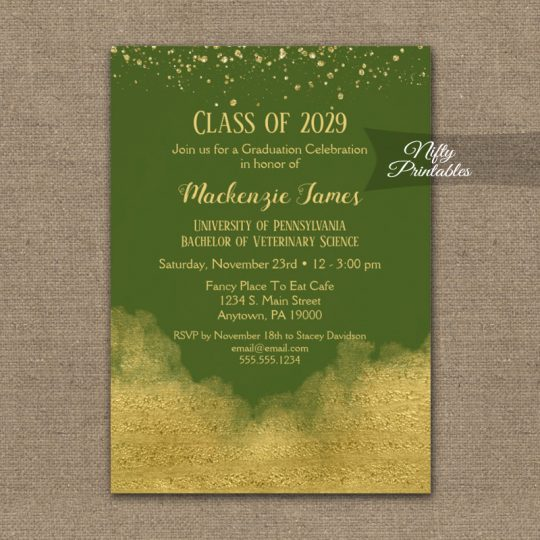 Graduation Party Invitations Gold Confetti Glam Olive Green PRINTED