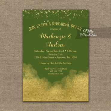 Rehearsal Dinner Invitation Gold Confetti Glam Olive Green PRINTED