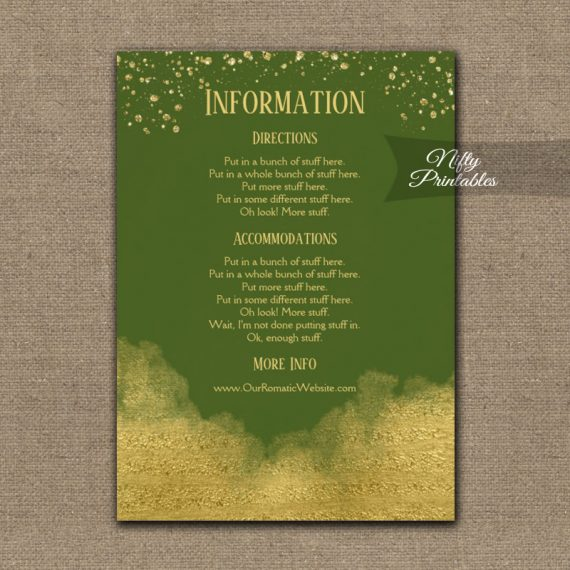 Gold Confetti Glam Olive Green Wedding Details Info Card PRINTED
