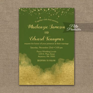 Wedding Invitation Gold Confetti Glam Olive Green PRINTED