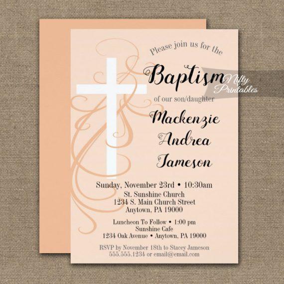Baptism Invitation Peach Swirly Cross PRINTED