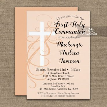 First Holy Communion Invitation Peach Swirly Cross PRINTED