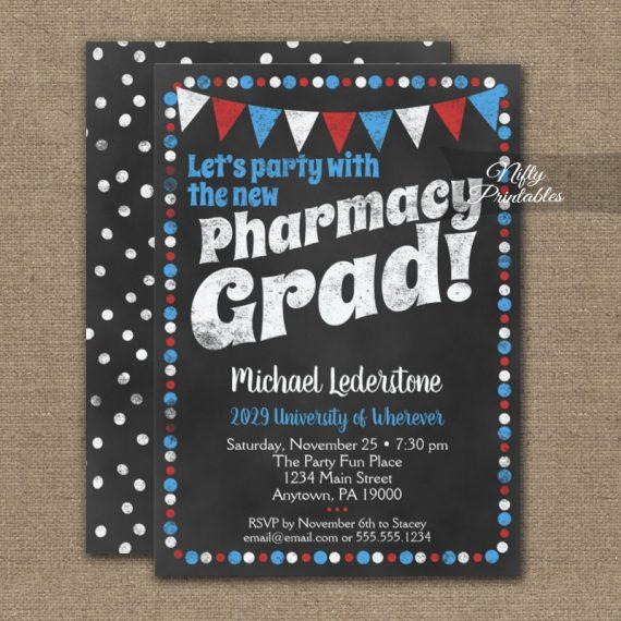Pharmacist Graduation Party Invitation Red Blue Chalkboard PRINTED