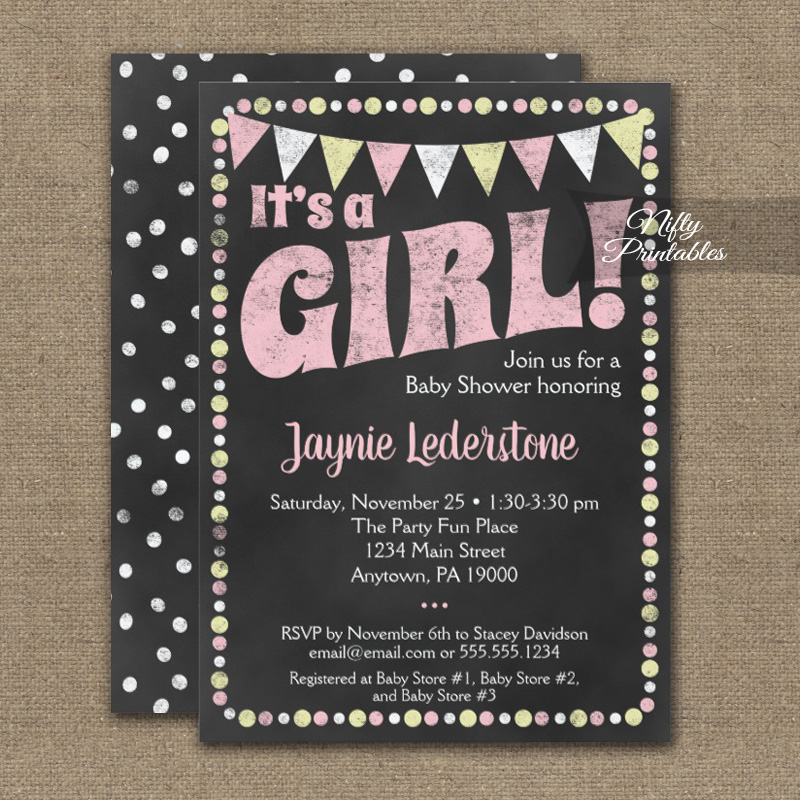 Baby Shower Invitation Pink Yellow Chalkboard It\'s A Girl PRINTED ...