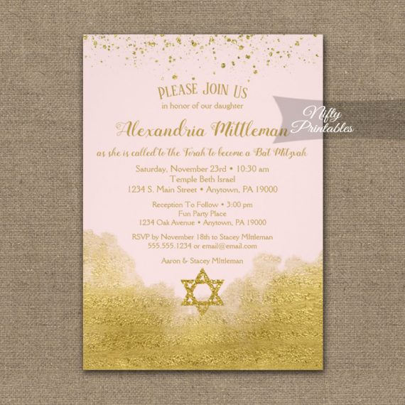 Bat Mitzvah Invitation Gold Confetti Glam Pink PRINTED