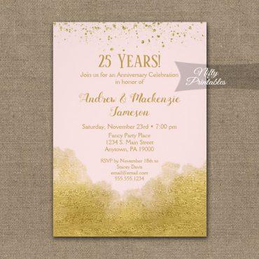 Anniversary Invitations Gold Confetti Glam Pink PRINTED
