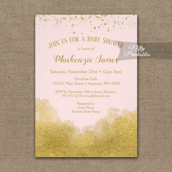 Baby Shower Invitation Gold Confetti Glam Pink PRINTED