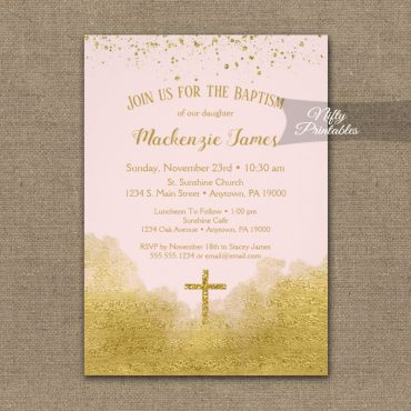 Baptism Invitations Gold Confetti Glam Pink PRINTED