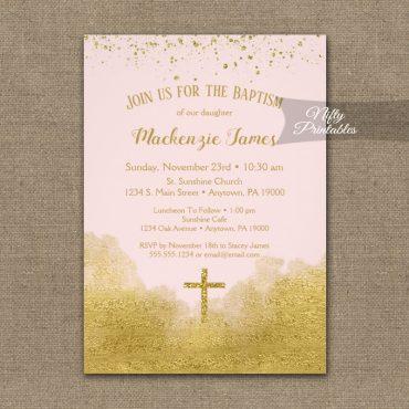 Baptism Invitation Gold Confetti Glam Pink PRINTED