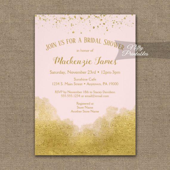 Bridal Shower Invitation Gold Confetti Glam Pink PRINTED