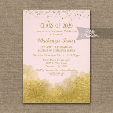 Graduation Party Invitations Gold Confetti Glam Pink PRINTED