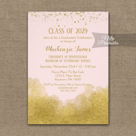 Graduation Party Invitations Gold Confetti Glam Pink PRINTED