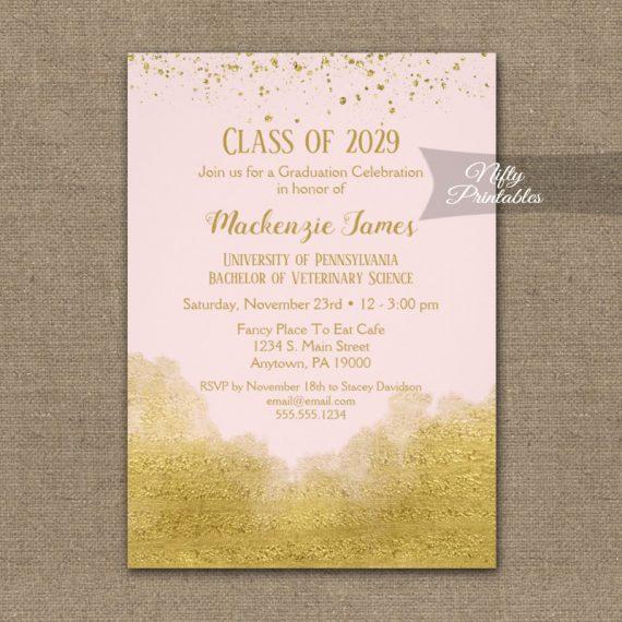Graduation Party Invitation Gold Confetti Glam Pink PRINTED