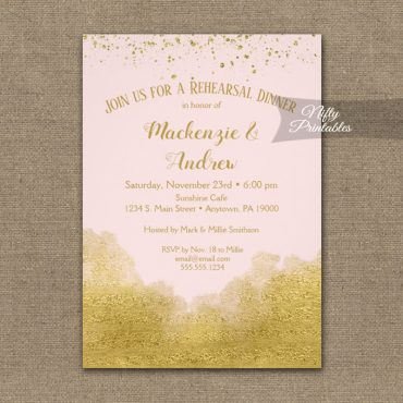 Rehearsal Dinner Invitation Gold Confetti Glam Pink PRINTED