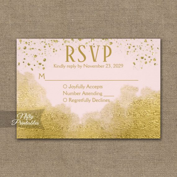 Gold Confetti Glam Pink RSVP Card Wedding Response PRINTED