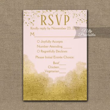 Gold Confetti Glam Pink RSVP Card w/ Meal Choices PRINTED