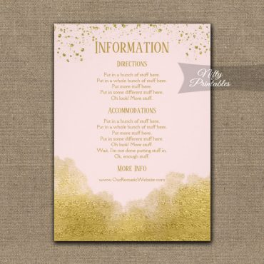 Gold Confetti Glam Pink Wedding Details Info Card PRINTED