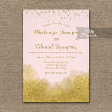 Wedding Invitation Gold Confetti Glam Pink PRINTED